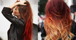 Sunset red ombre hair Renew