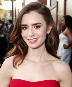Lilly Collins Hairstyle for Heart Shaped Face Renew