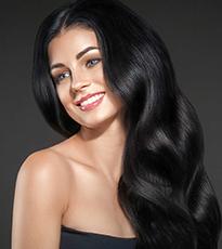 black hair colour beautifully long wavy hair - Feature
