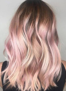 Blonde and Rose hair colour