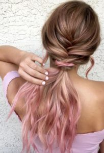 Pastel hair ends add a pop of colour to your summer ponytail