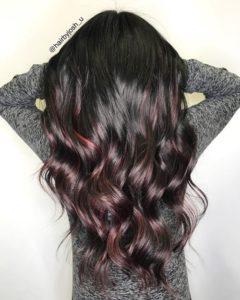 dark hair with burgundy ombre hair