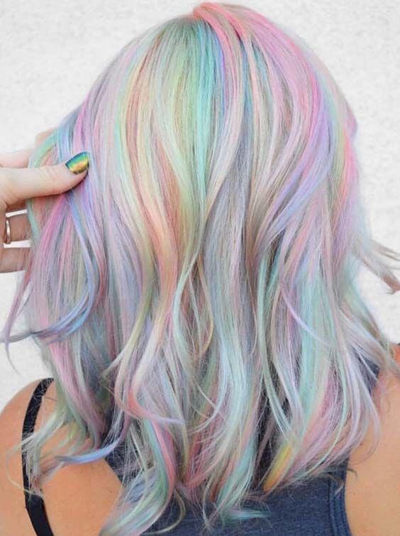Mixed shades of pastel hair