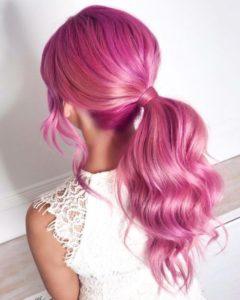 Semi-permanent pink tulip hair