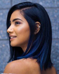 Blue black melt hair colour trend