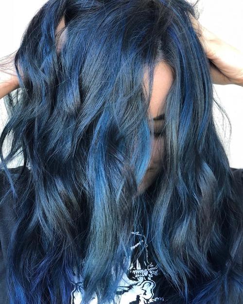 Charming blue black highlights